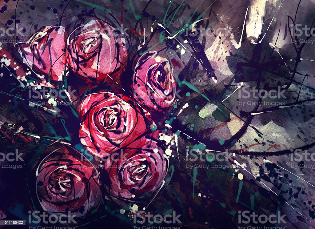 Watercolor painting style roses Abstract Art. stock photo