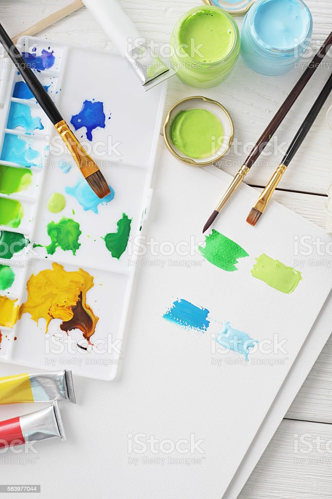 watercolor painting tools stock photo