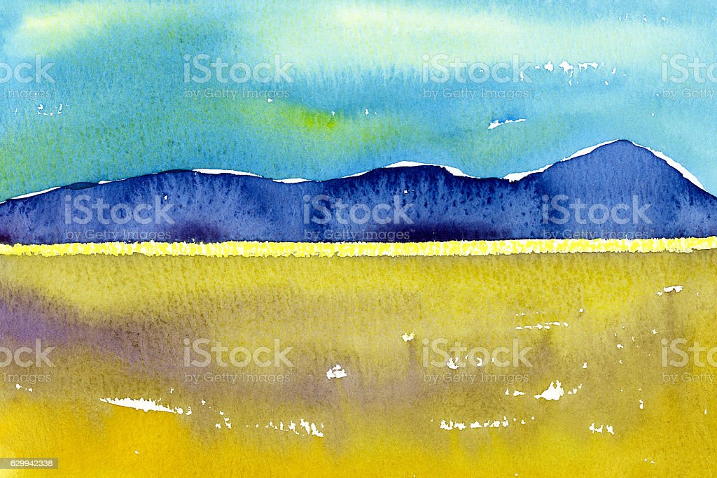 Watercolor painting yellow field with mountain stock photo