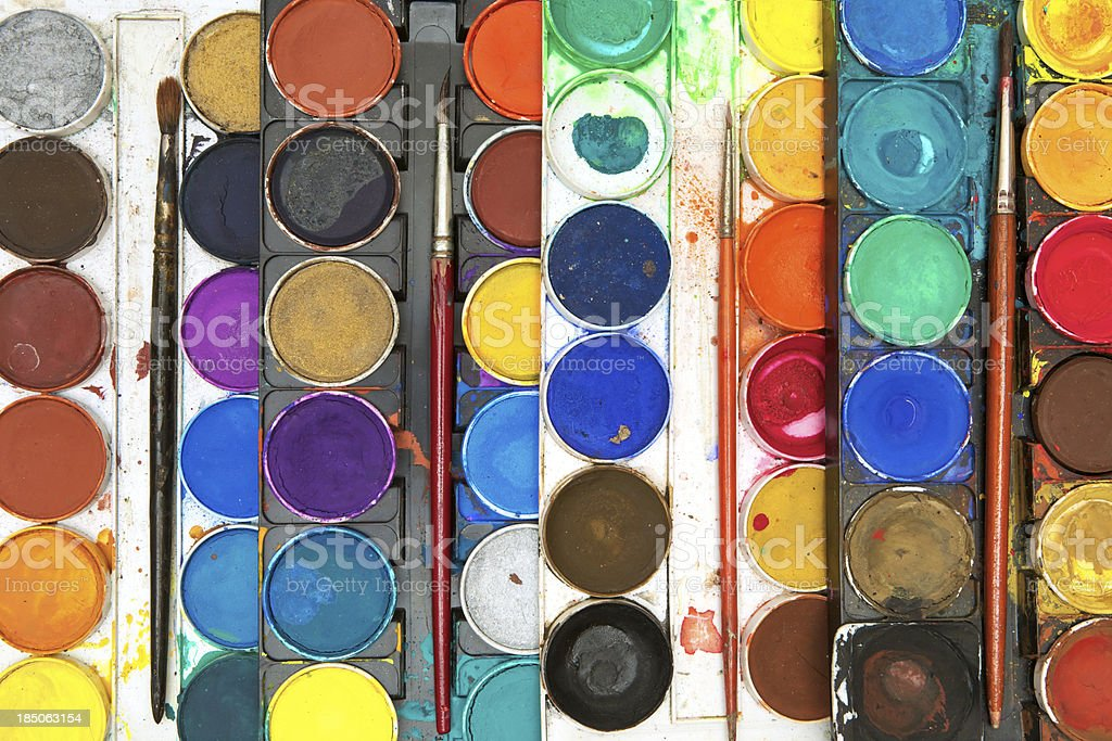 Watercolor Paints and Paintbrushes royalty-free stock photo
