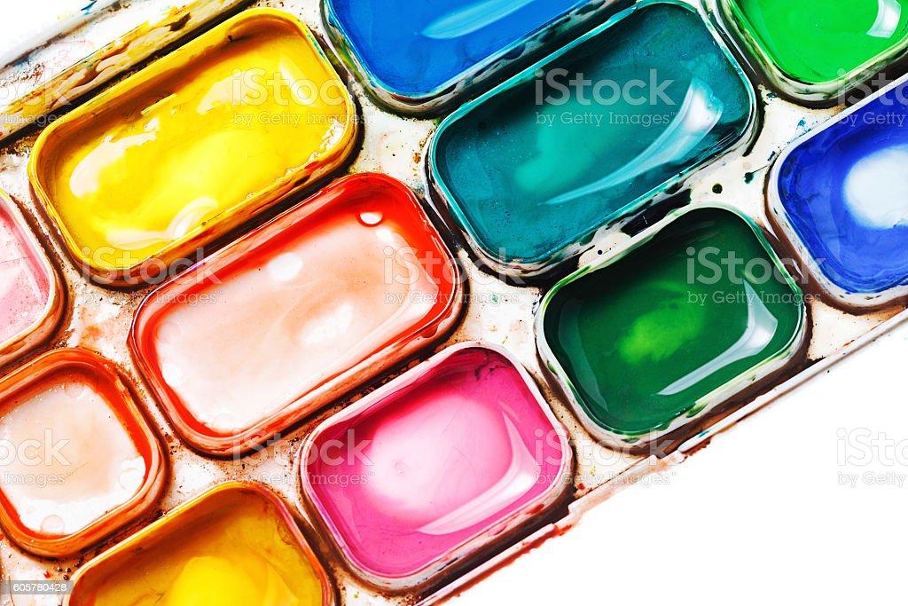 Watercolor paints. Paintbox stock photo