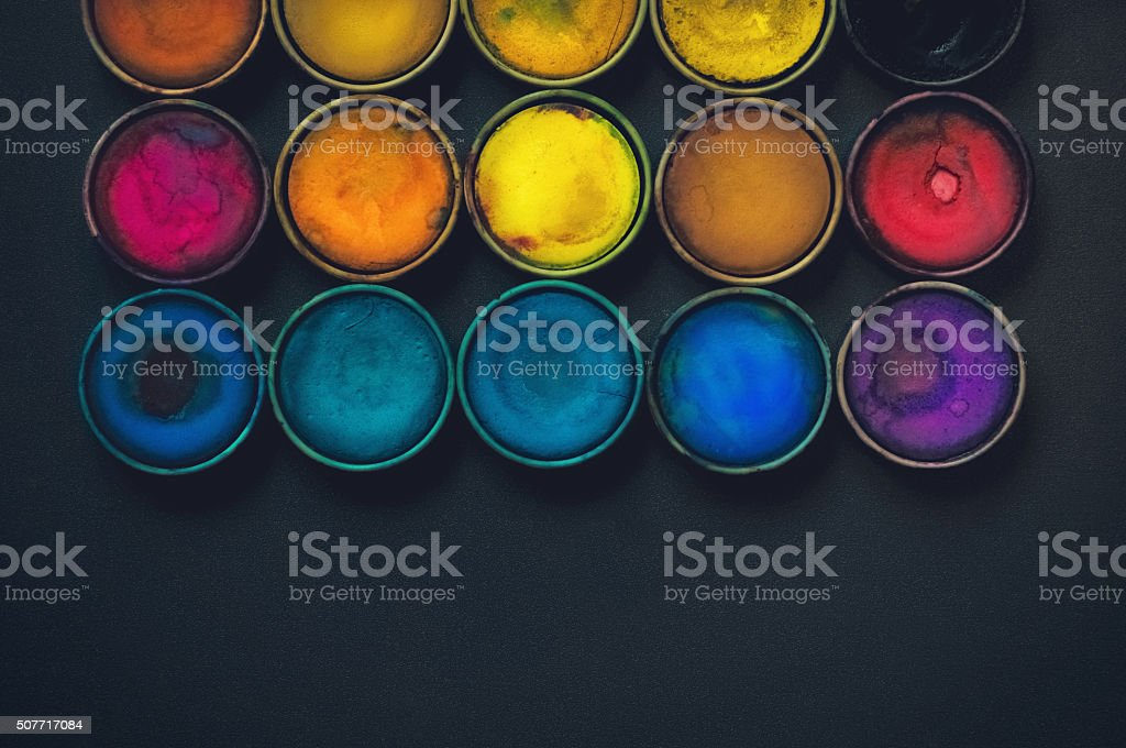 Watercolor paints. stock photo