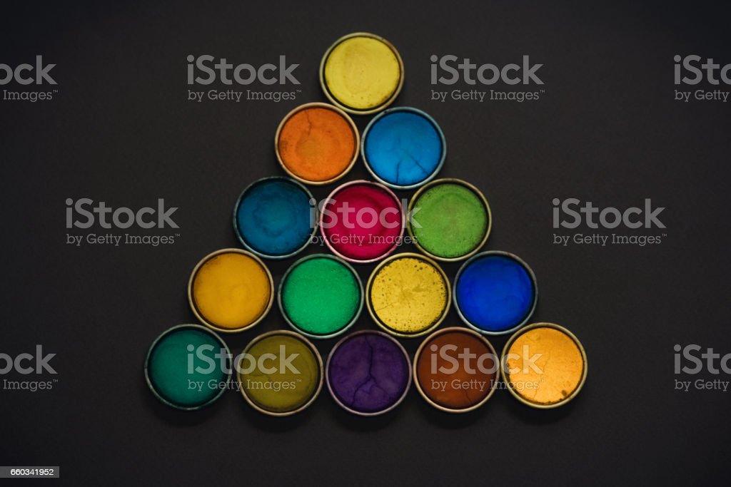 Watercolor paints stock photo