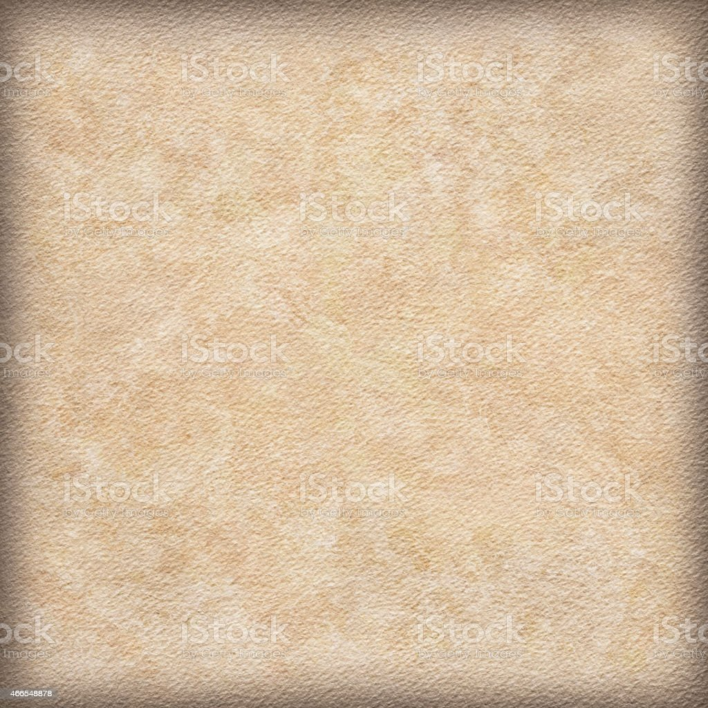 Watercolor Paper Primed Beige Mottled Vignette Grunge Texture stock photo