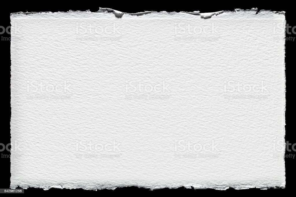 Watercolor paper with rough edge stock photo