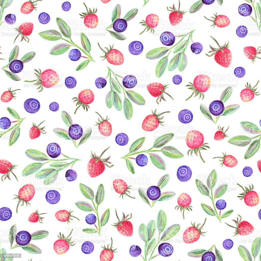 Watercolor pattern with strawberries and blueberry stock photo