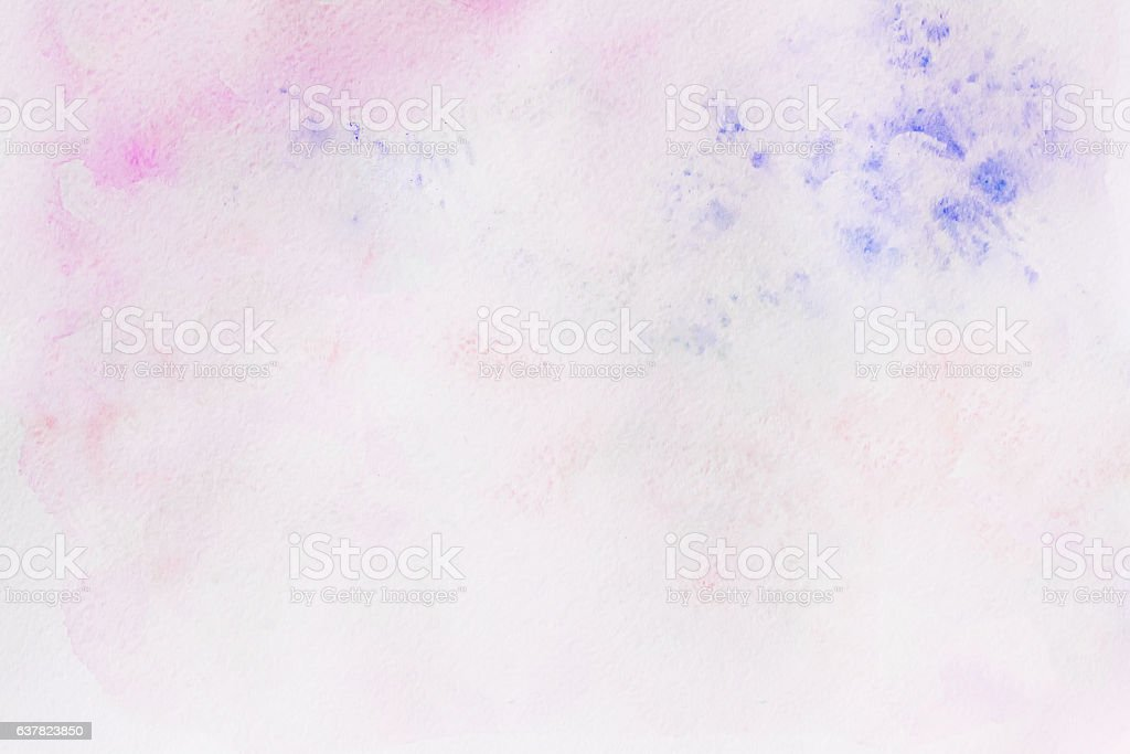 Watercolor pink and violet abstract hand painted background with drawing stock photo