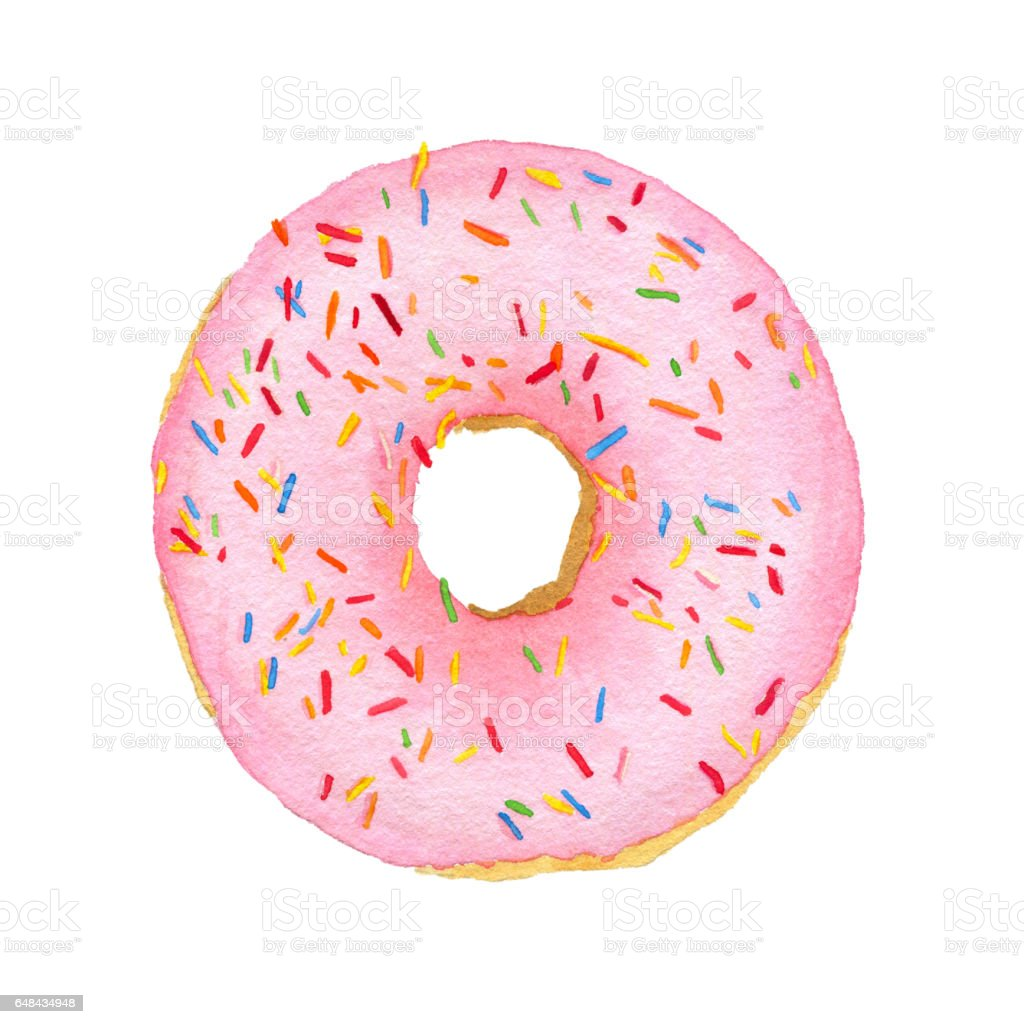 Watercolor pink with decorative sprinkles donut vector art illustration