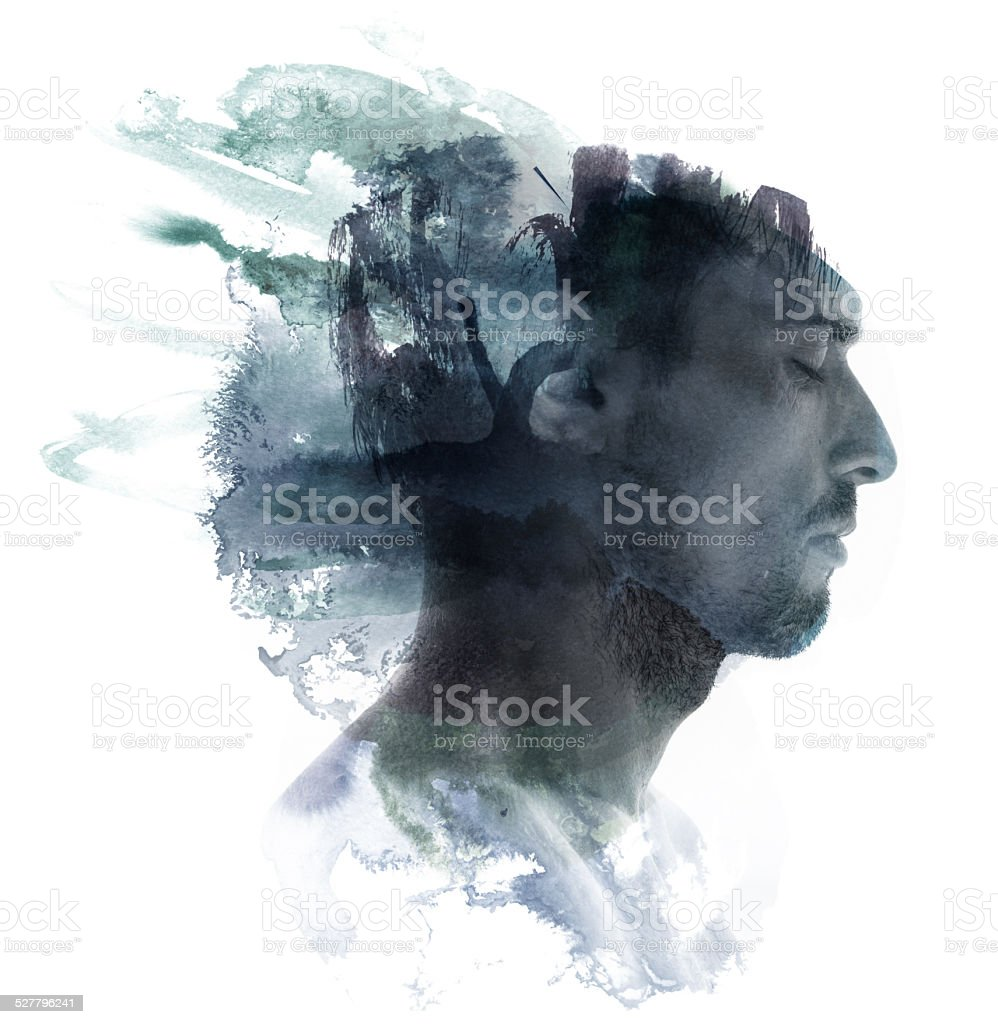 Watercolor portrait stock photo