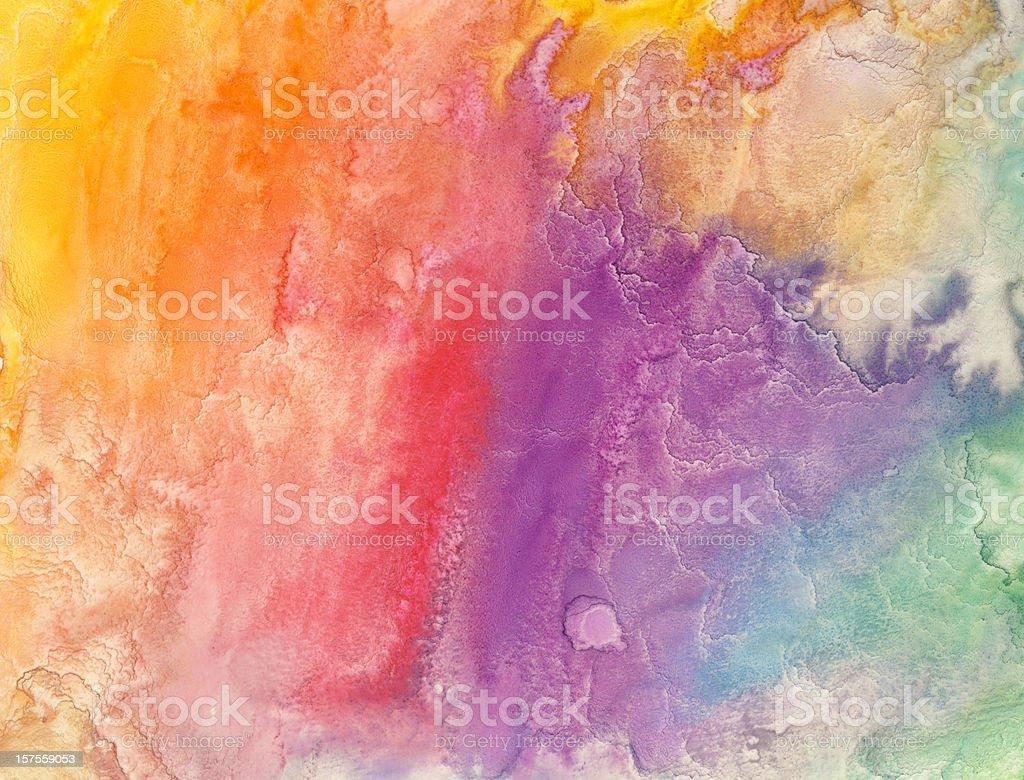 Watercolor rainbow painting royalty-free stock photo