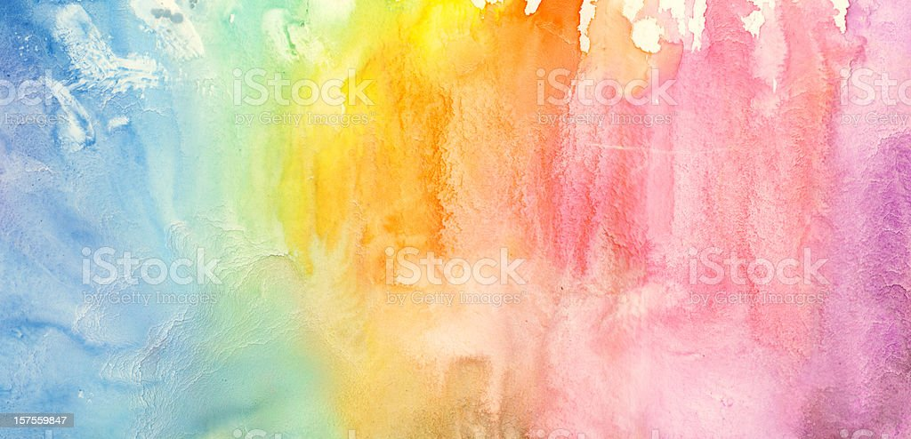 Watercolor rainbow painting stock photo