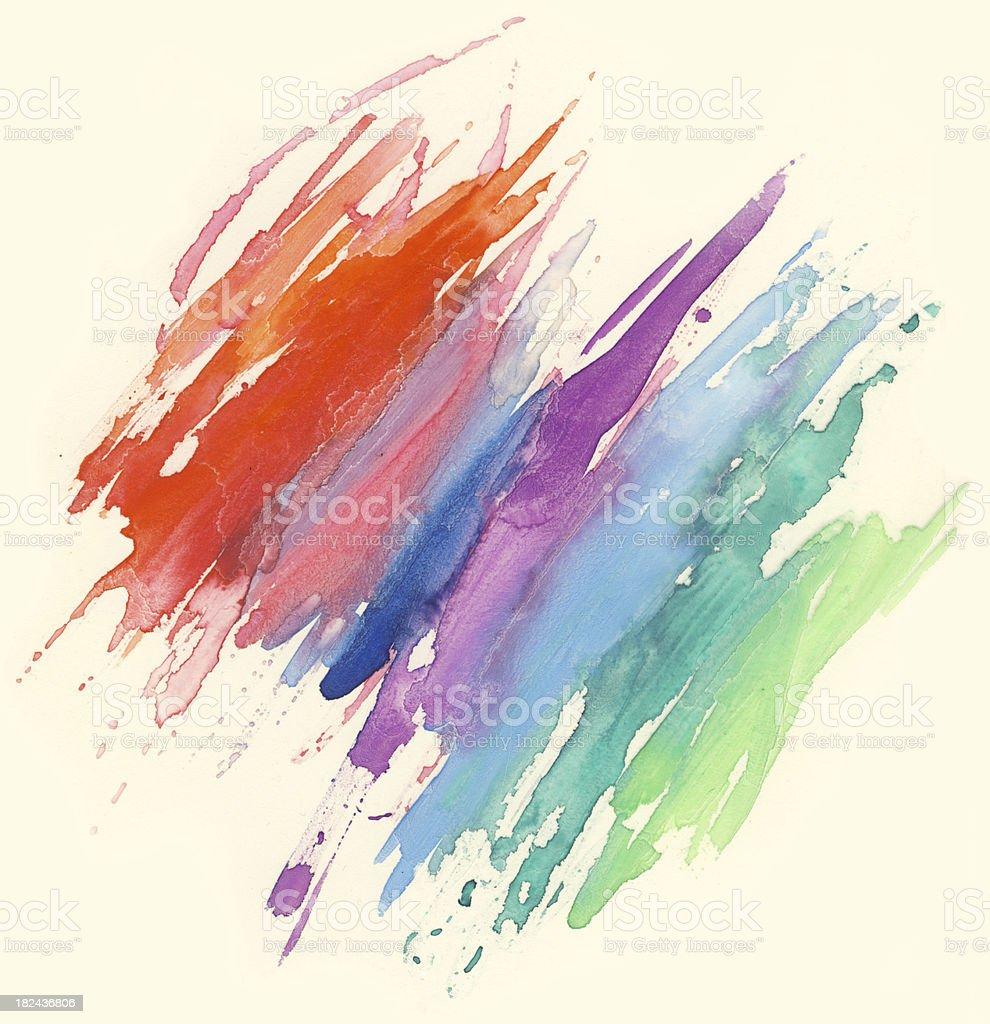 Watercolor rainbow painting stock photo