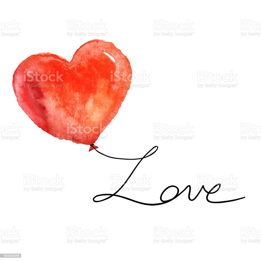 Watercolor red heart with love on white. stock photo