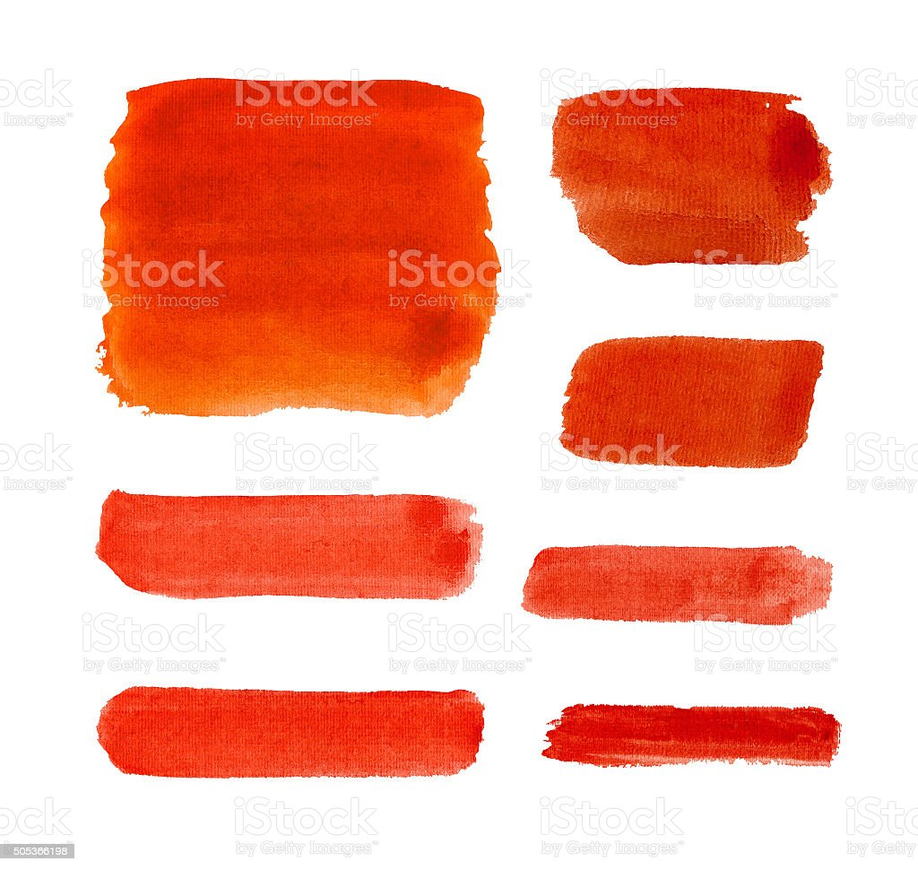 Watercolor red strokes isolated. stock photo