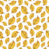 Watercolor seamless pattern of autumn yellow leaves