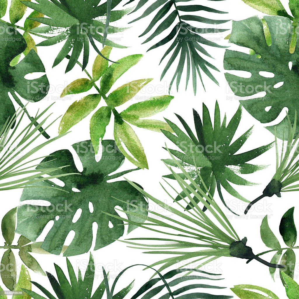 watercolor seamless pattern with leaves stock photo