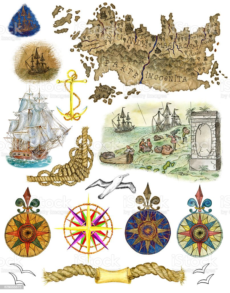Watercolor set with pirate map and sea details isolated stock photo