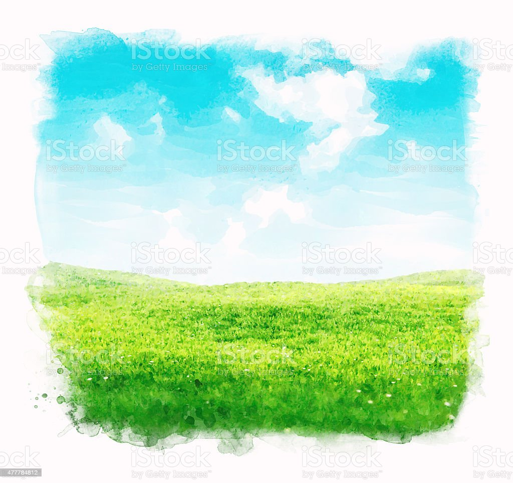 Watercolor sky and grass background vector art illustration