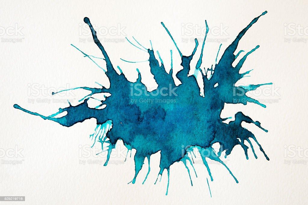 watercolor splash blot background on white background stock photo