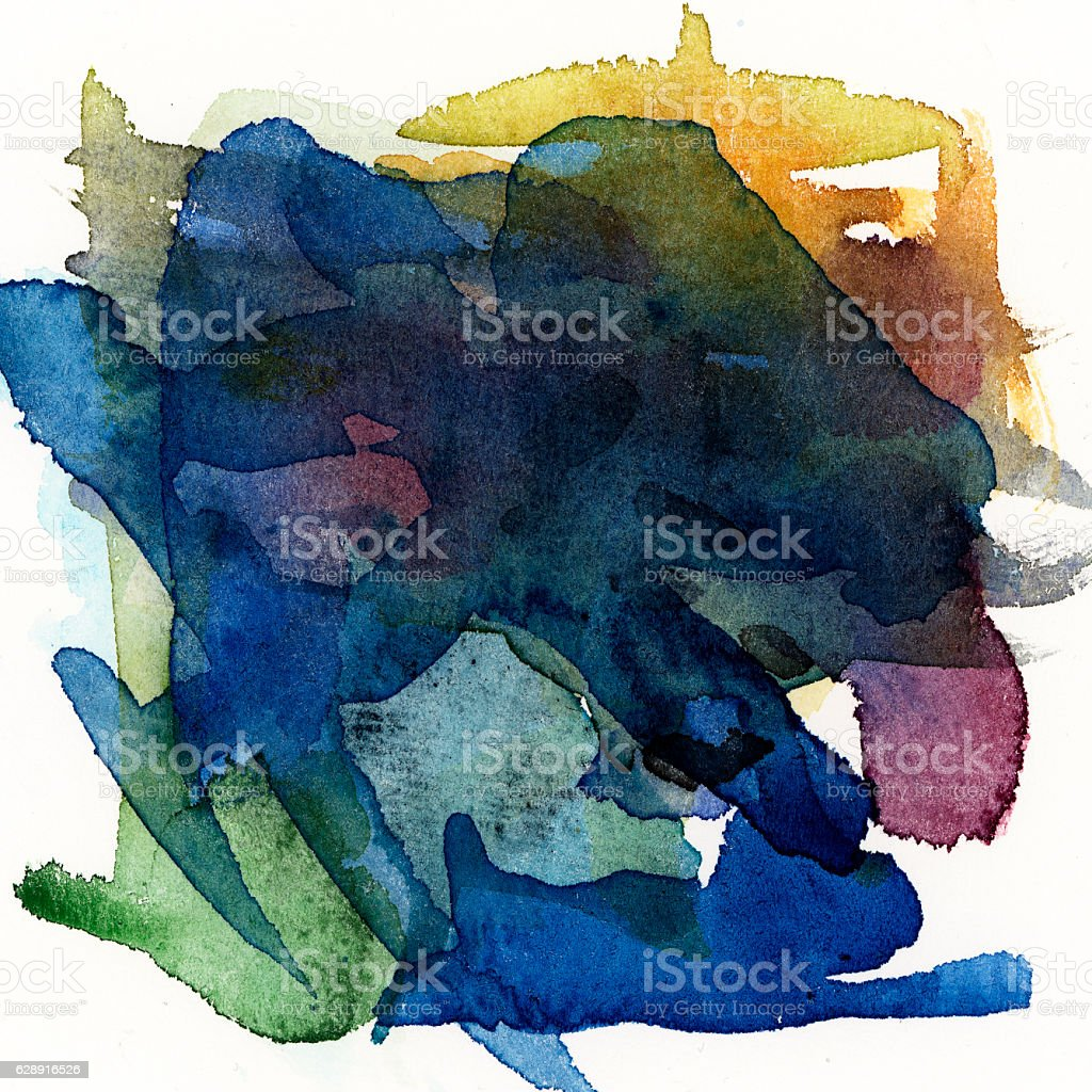 Watercolor square mixed color with white background stock photo