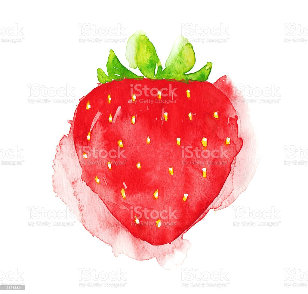 Watercolor strawberry stock photo