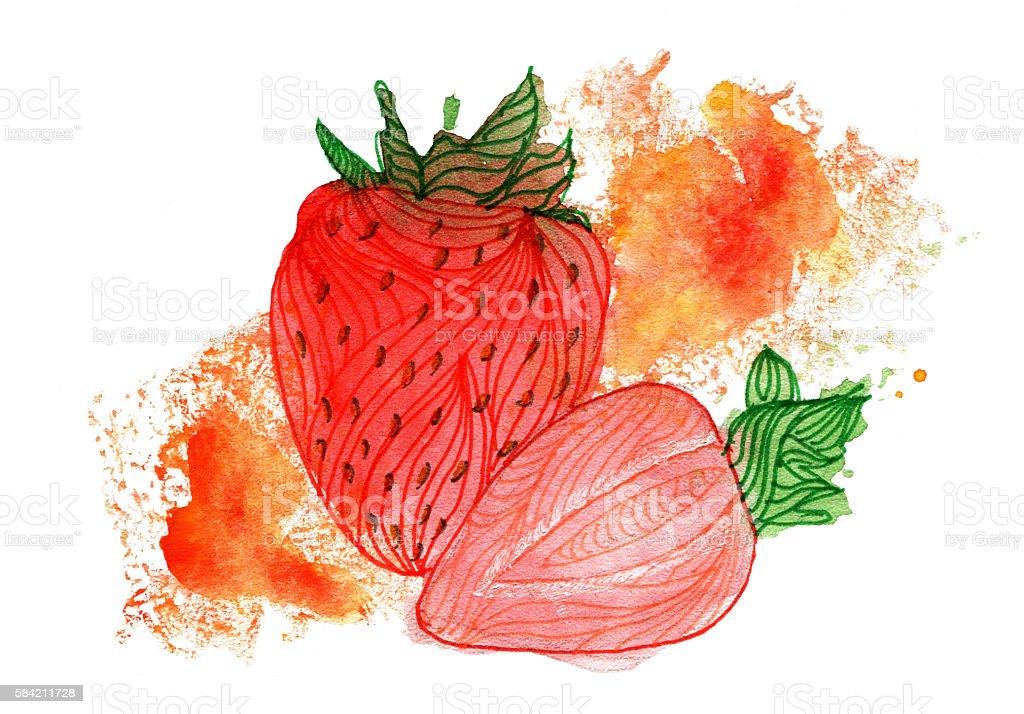 Watercolor strawberry stock photo