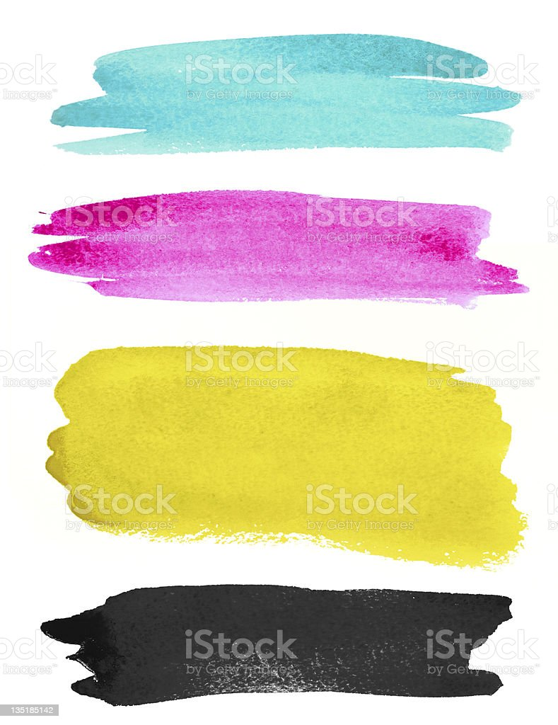 watercolor strokes on white paper stock photo