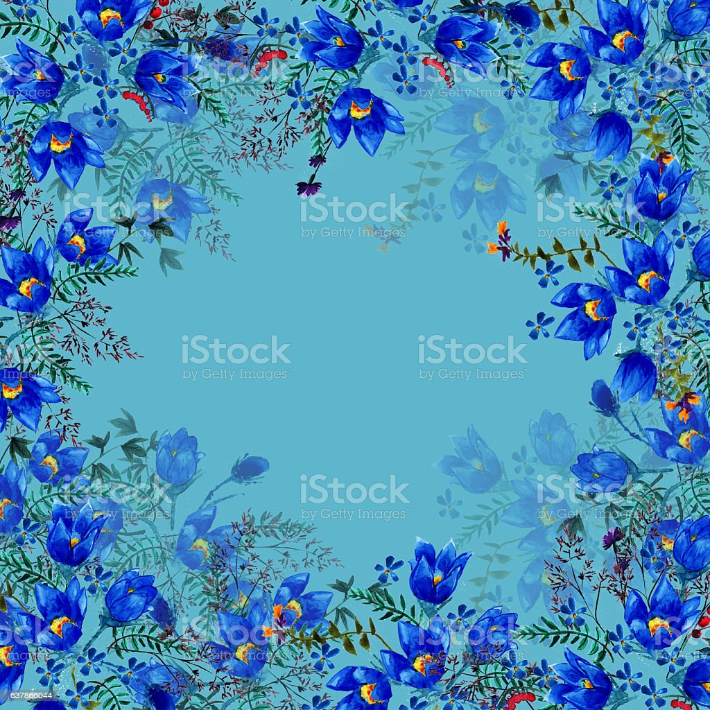 Watercolor summer background with flowers bell stock photo