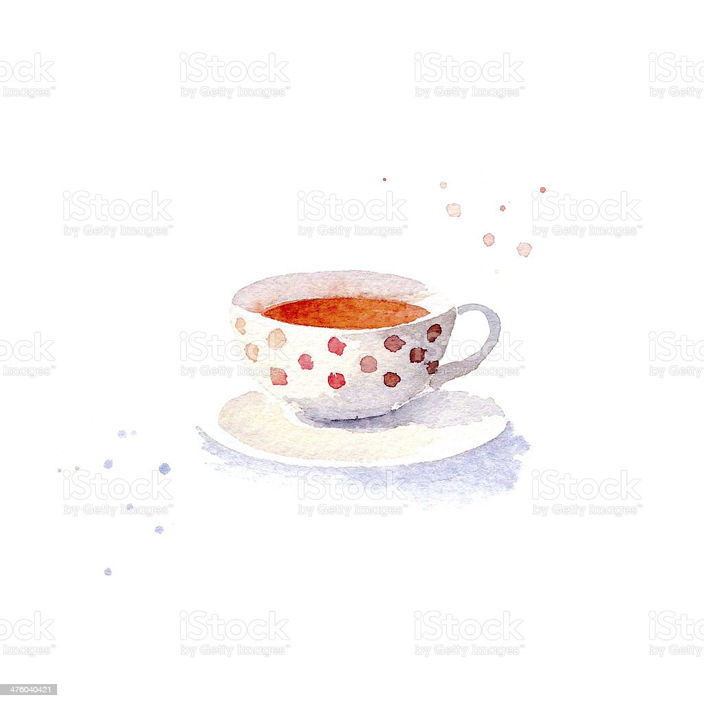 Watercolor teacup stock photo