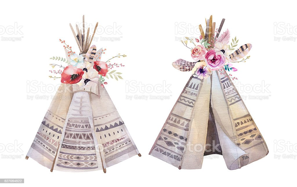 Watercolor teepee, arrows, fearhers and tomahawk. Boho america stock photo