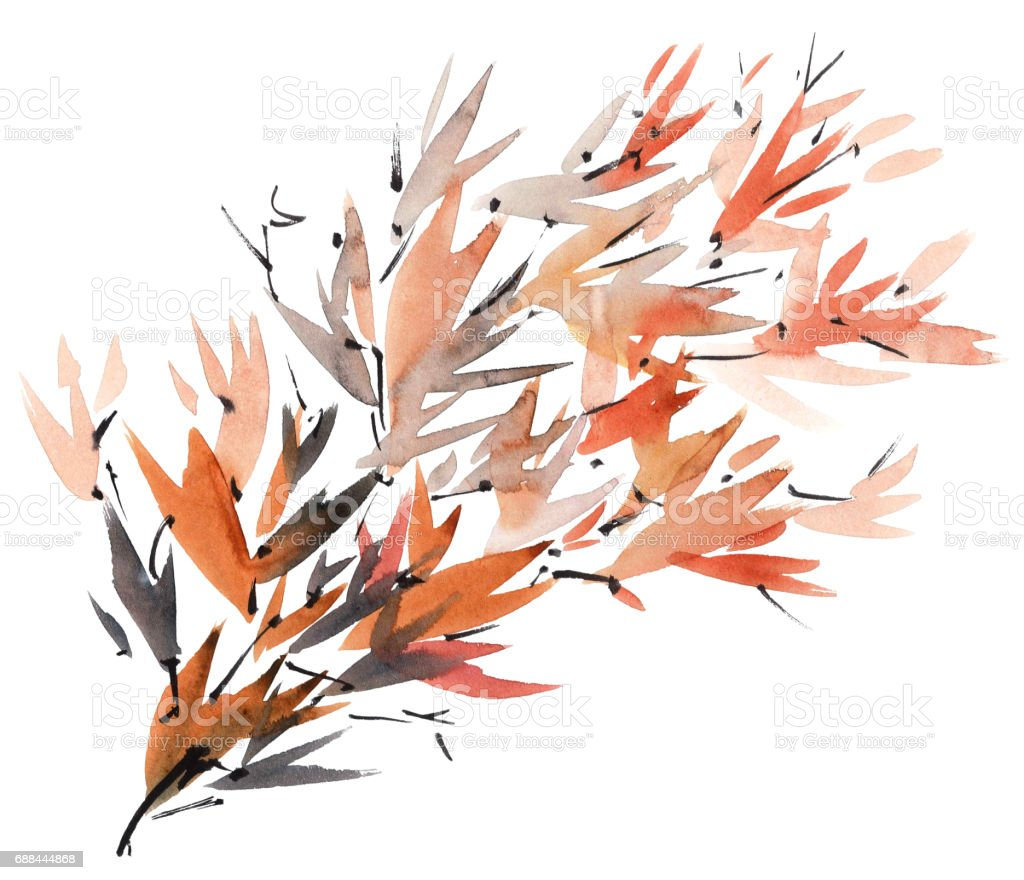 Watercolor tree branch stock photo