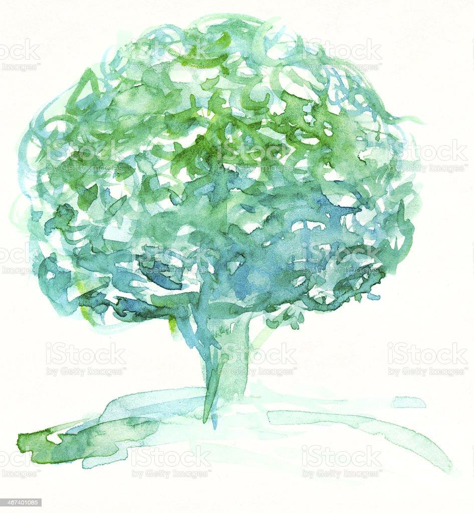 Watercolor tree royalty-free stock photo