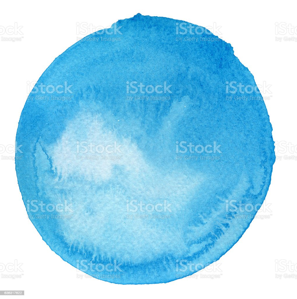 Watercolor Turquoise Circle (Clipping Path) stock photo