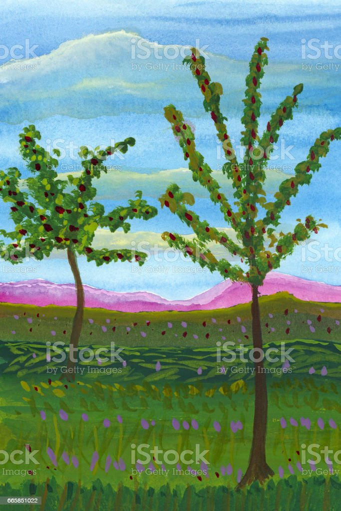 watercolor two trees in the green landscape with mountains stock photo