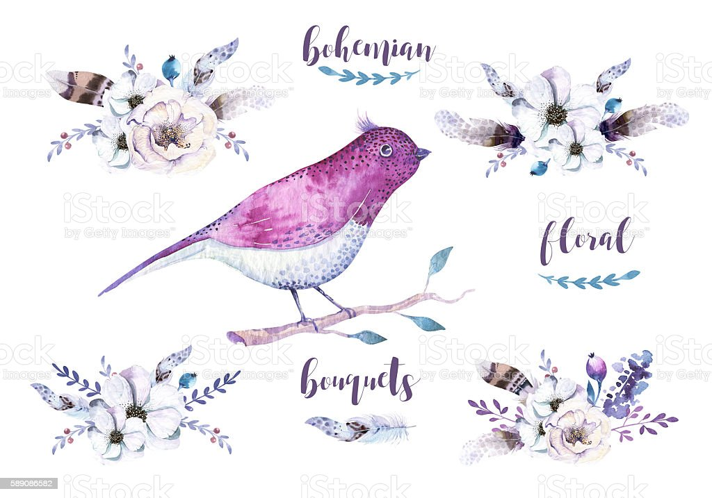 Watercolor vintage boho floral bouquets, bird. Bohemian isolated spring flower stock photo
