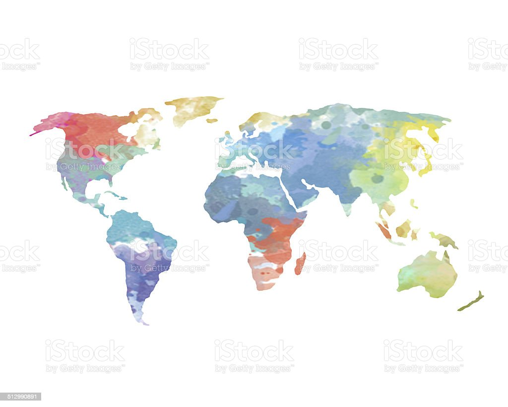 Watercolor World Map Poster stock photo