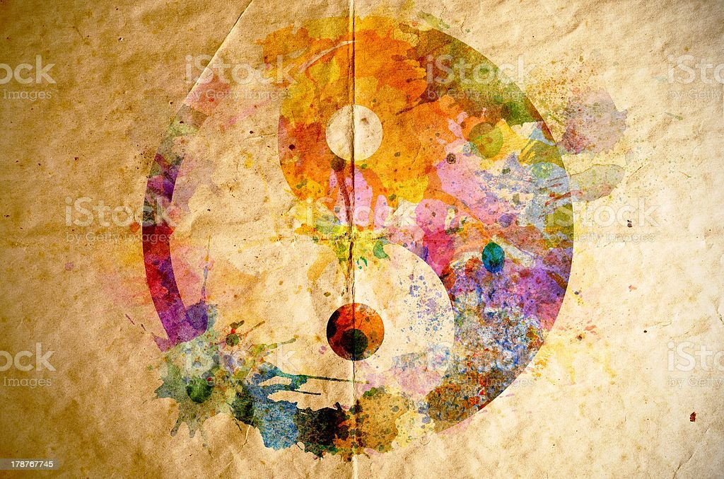 Watercolor yin yang symbol, old paper background stock photo