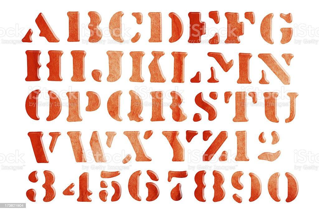 Watercolored Alphabet royalty-free stock photo
