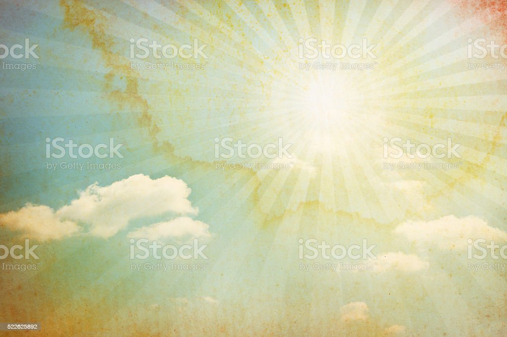 Watercolored Sun With Clouds stock photo