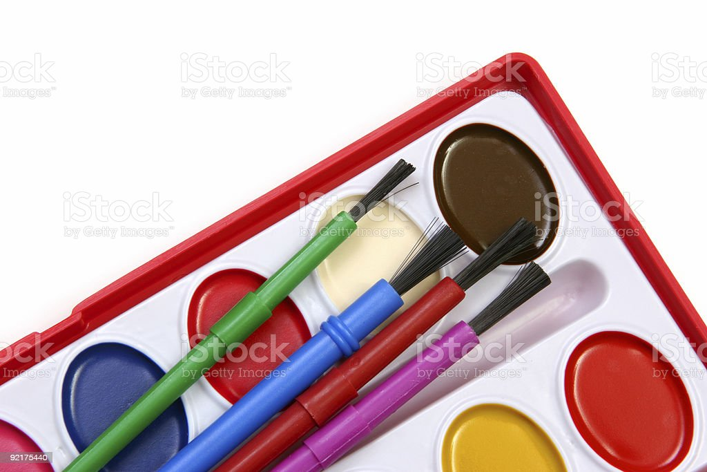 Watercolors and brushes oblique view stock photo