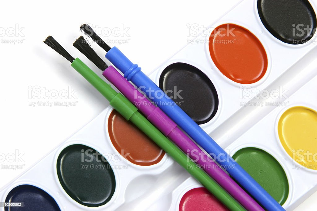 Watercolors and brushes transverse stock photo