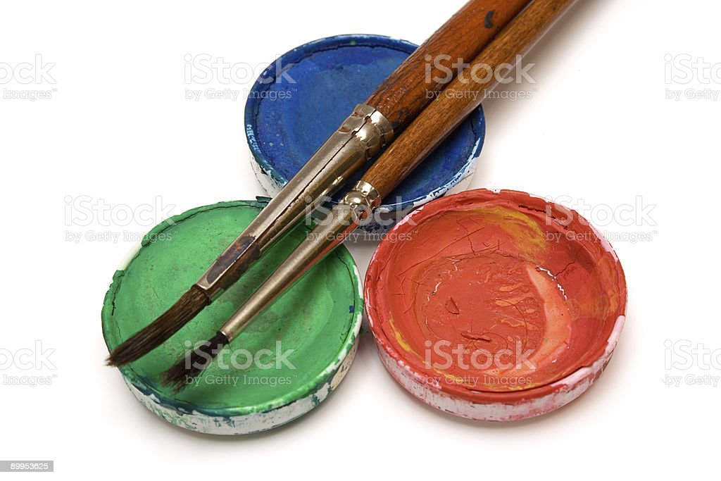RGB watercolors w/ Paintbrushes stock photo