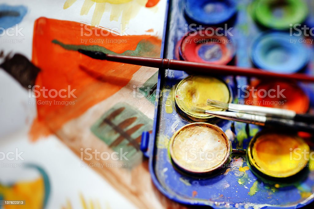 Watercolors with Brush. Color Image royalty-free stock photo