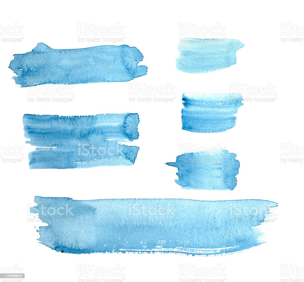 Watercolour Blue Painted Buttons / Lines royalty-free stock photo