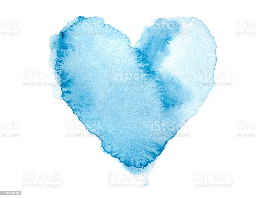 Watercolour Blue Painted Textured Heart vector art illustration