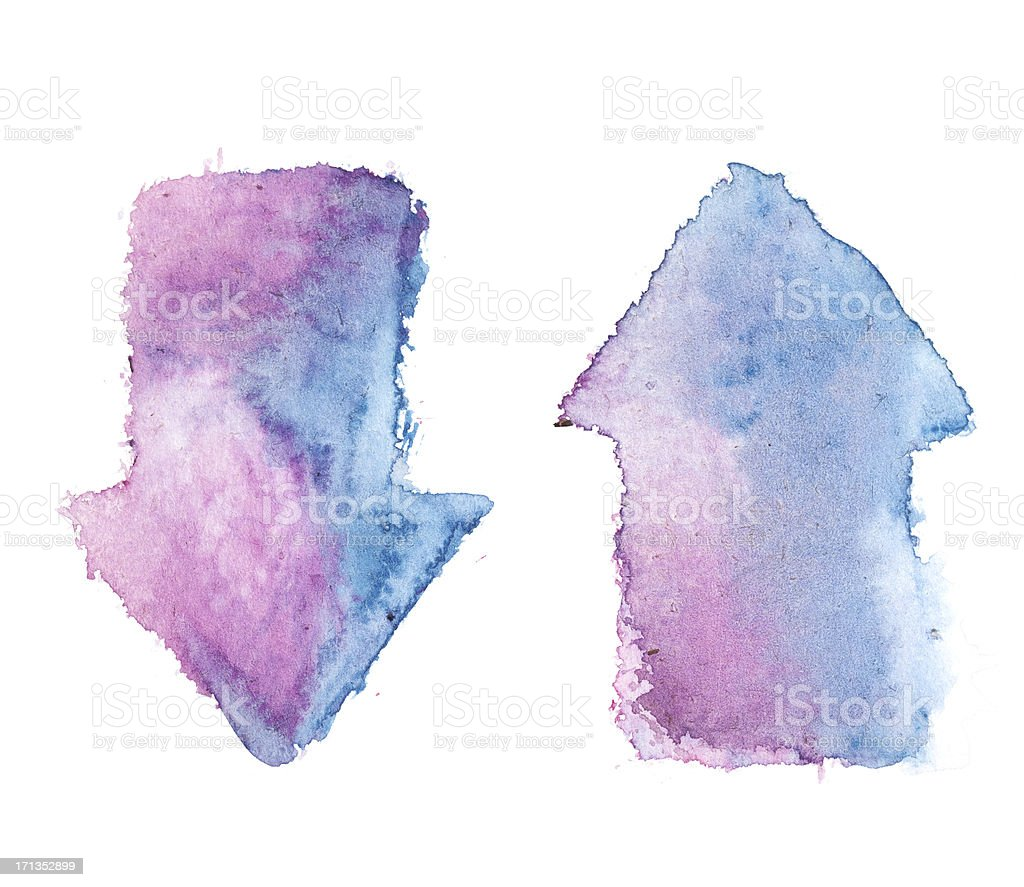 watercolour blue - pink / violet painted arrows royalty-free stock photo