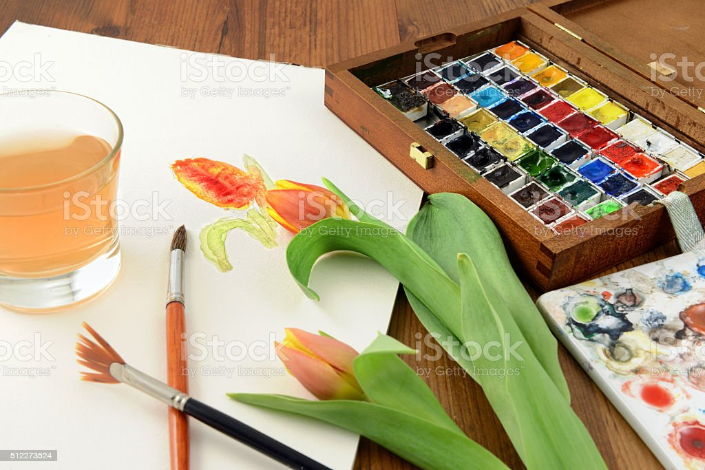 watercolour painting of tulip stock photo