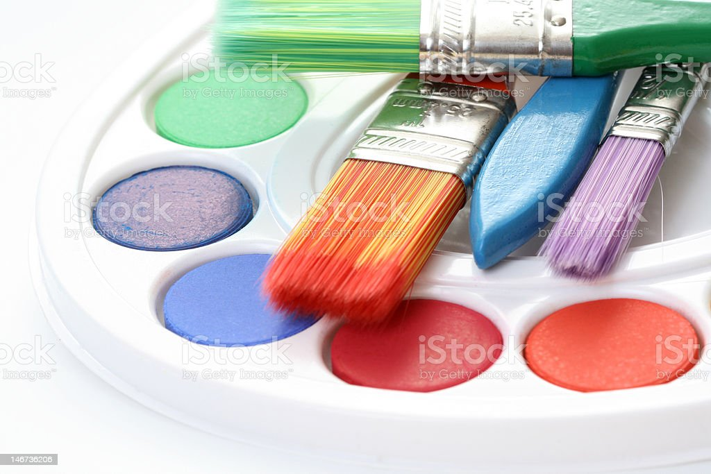 watercolour paints royalty-free stock photo