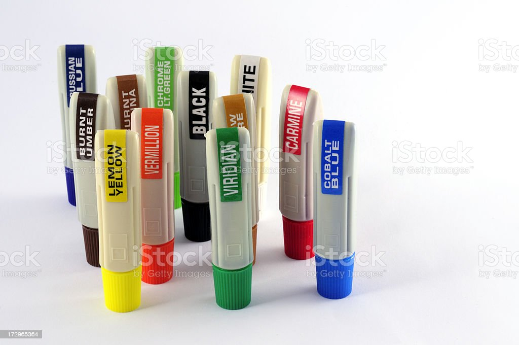 watercolour plastic tubes with colored labels stock photo