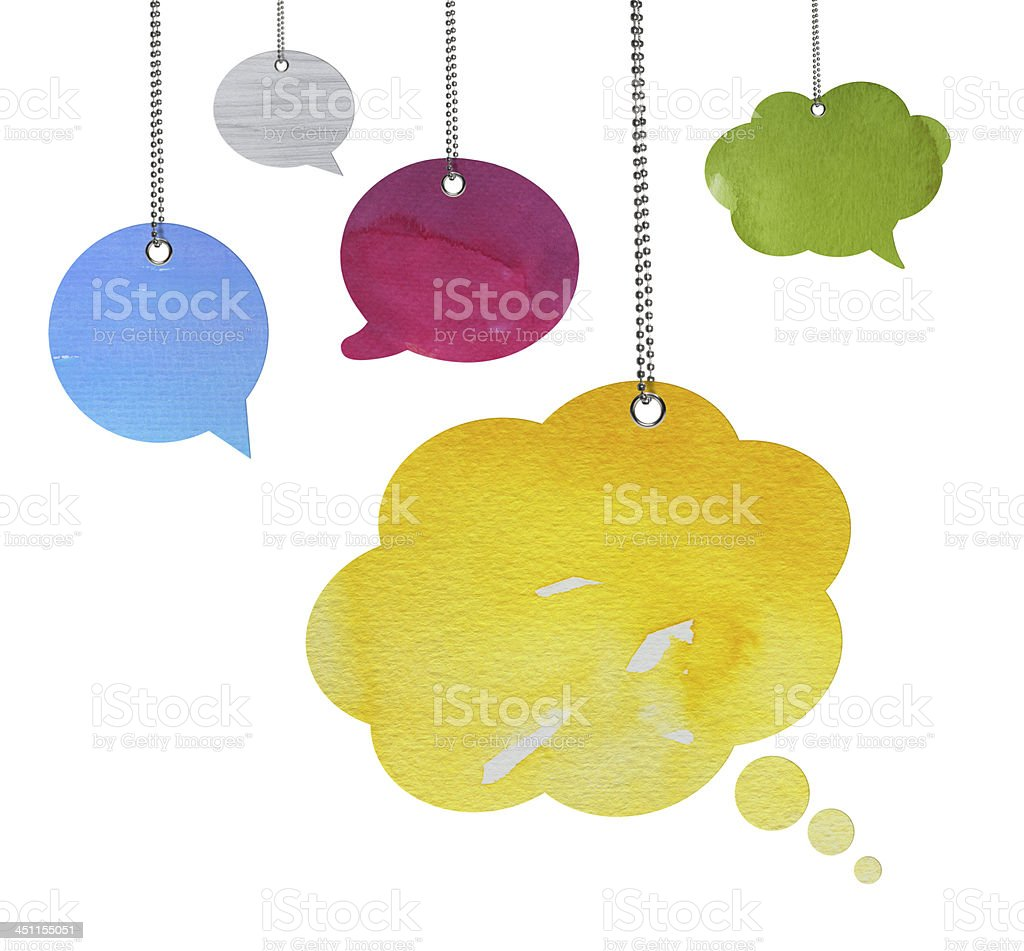Watercolour Speech Bubble (Clipping Path) royalty-free stock photo